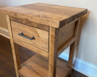 Chelsea Farmhouse Nightstand - End Table w/ Drawer - Rustic Nightstand End Table w/ Drawer- Bedroom Table