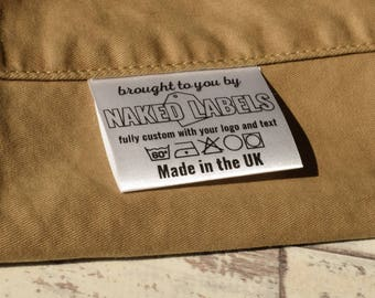 Custom clothing labels white silky satin fabric labels printed with your own logo text with care label symbols provided