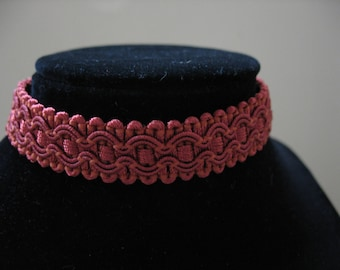 Embellished Fabric Trim Choker Necklace in 4 colors