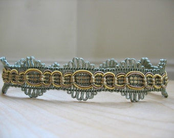 Art Deco–Style Green and Yellow Embellished Trim Choker
