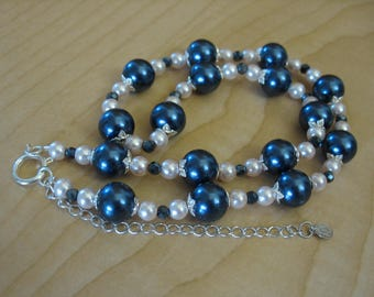 Navy and Pink Beaded Pearl and Crystal Necklace