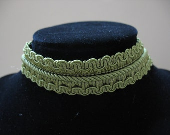 Scroll and Swirls Fabric Trim Choker Necklace