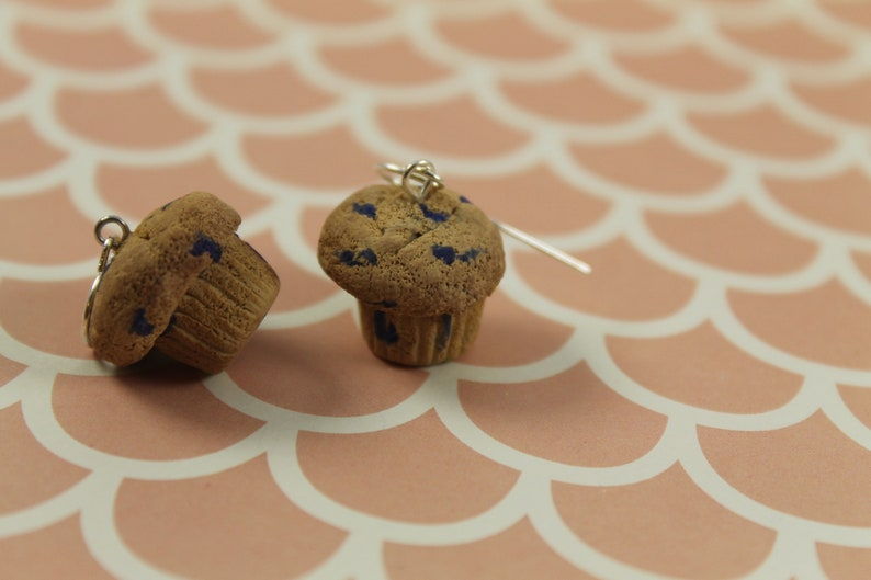 Blueberry Muffin Earrings Polymer Clay Baked Goods Breakfast image 0
