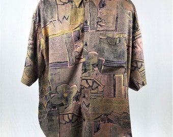 Vintage 80's Goouch Men's XL Rayon Abstract Brown Black Short Sleeve Button Down Shirt.