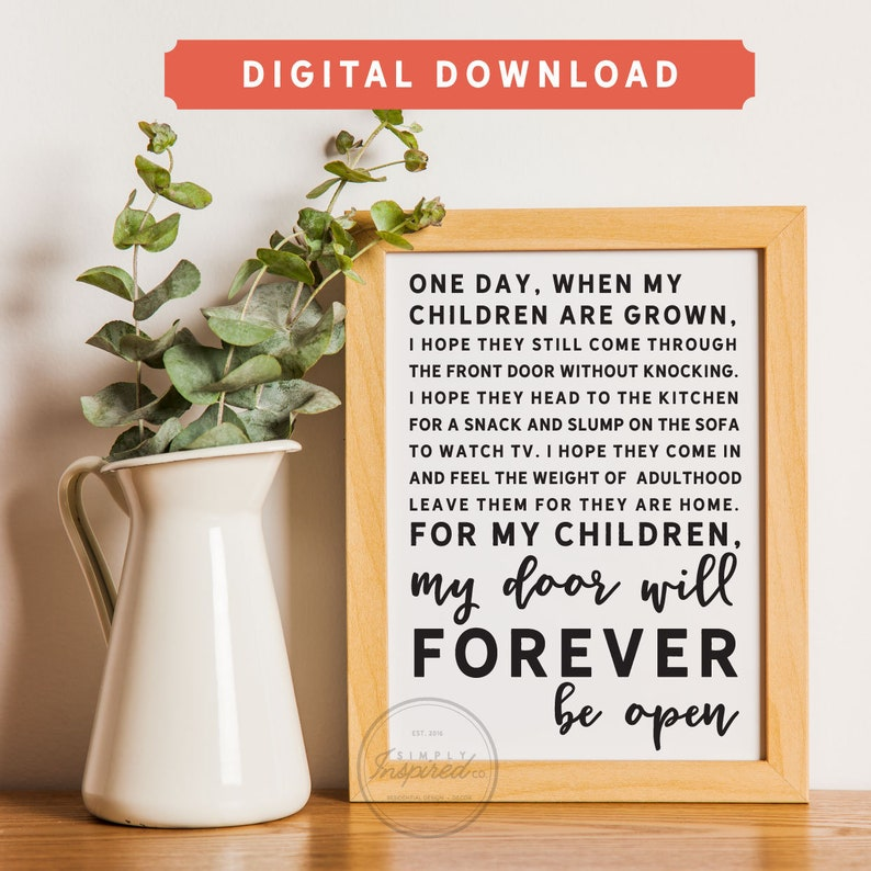 My door will forever be open - Printable Art - Downloadable Print - Kids -  Children - Motivational - Inspirational - Print - Simply Inspired