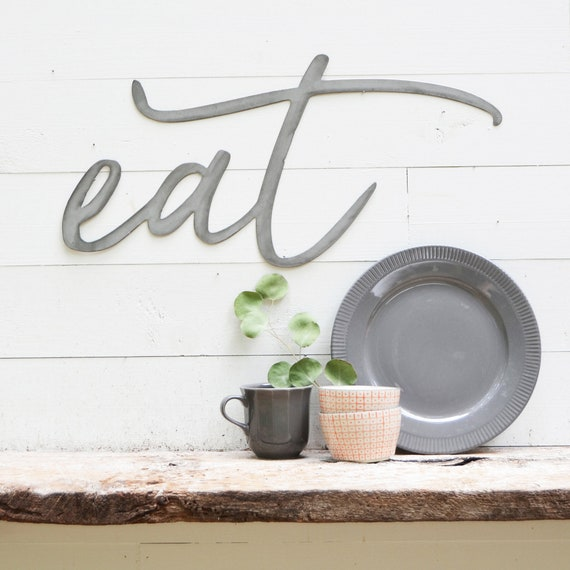 eat Metal Sign - Metal Wall Art - eat Sign - Metal Words - Farmhouse  Kitchen - Metal Signs - Dining Room -Simply Inspired-Inspiration