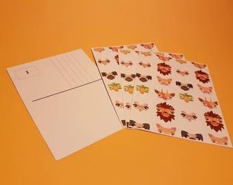 Set of Four Posting Cards Animals