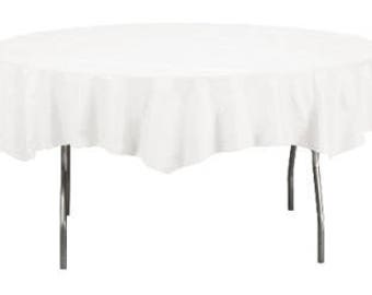 White Round Paper Tablecloths, Poly-lined, 3.40 each Case Discount - Octy Round Assorted Colors