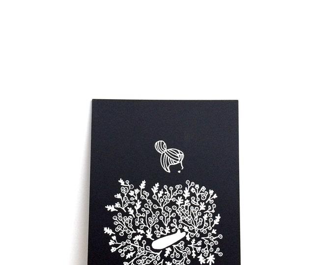 "Girl Holding Flowers Print (Ally) | 6"" x 8"" | Art Print, Digital Print, Black & White | Home Wall Decor"