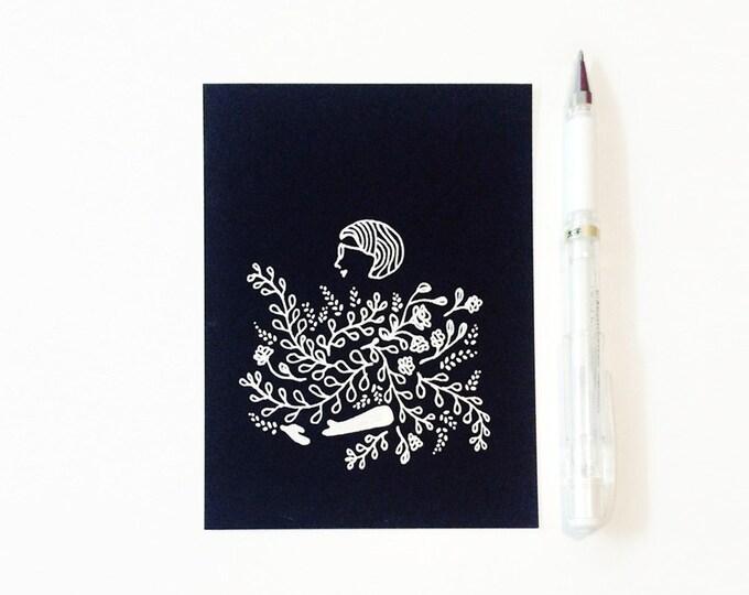 "Custom Minimal Portrait Illustration | white ink on black cardstock, 4.25 "" x 5.5 """