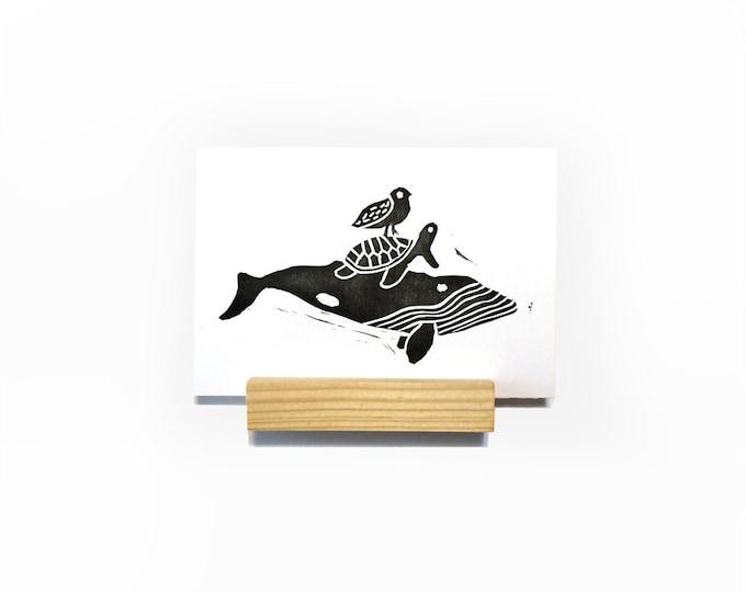 Ocean Friends Mini Print | Art Print, Postcard, Home Wall Decor | Whale, Seagull, & Sea Turtle | Handmade