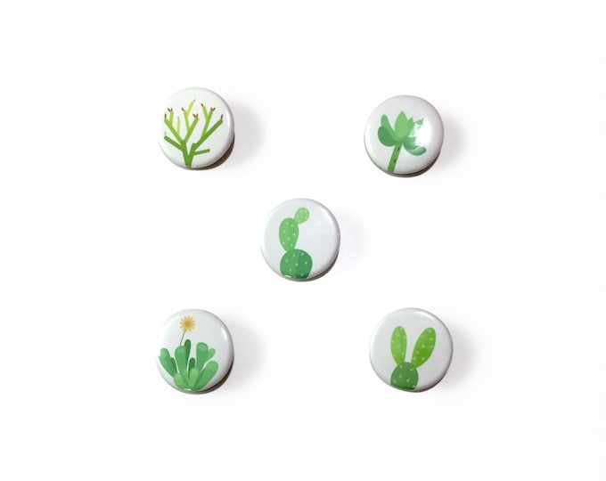 "Cactus & Succulent Buttons | 1 1/4"", Pack of 5 