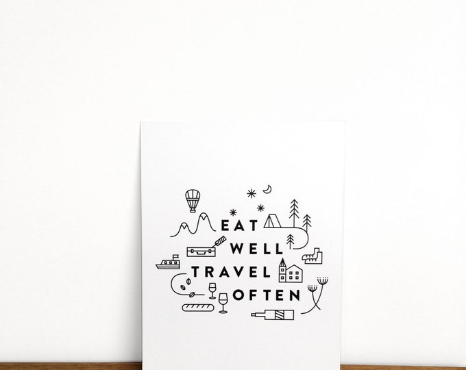 "Eat Well Travel Often Print   6"" x 8""   Typography, Art Print, Digital Print   Home Wall Decor"