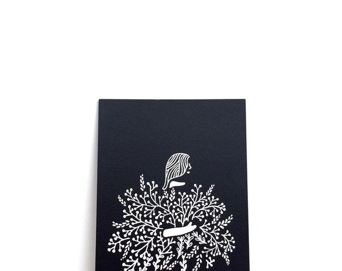 "Girl Holding Flowers Print (Jessie)   6"" x 8""   Art Print, Digital Print, Black & White   Home Wall Decor"
