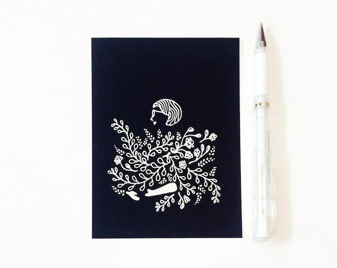 "Custom Minimal Portrait Illustration   white ink on black cardstock, 4.25 "" x 5.5 """