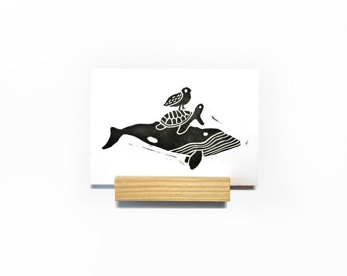 Ocean Friends Mini Print   Art Print, Postcard, Home Wall Decor   Whale, Seagull, & Sea Turtle   Handmade