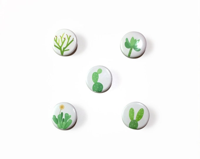 """Cactus & Succulent Buttons   1 1/4"""", Pack of 5   Accessories, Pin Back Buttons"""
