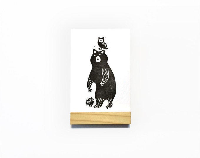 Mountain Friends Mini Print   Art Print, Postcard, Home Wall Decor   Bear, Owl & Porcupine   Handmade