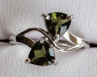Moldavite Sterling Silver Ring with 2 x 6mm Trillion Moldavite Facets - Museum Grade Moldavite Jewelry, Meteorite Glass, Faceted Gemstone