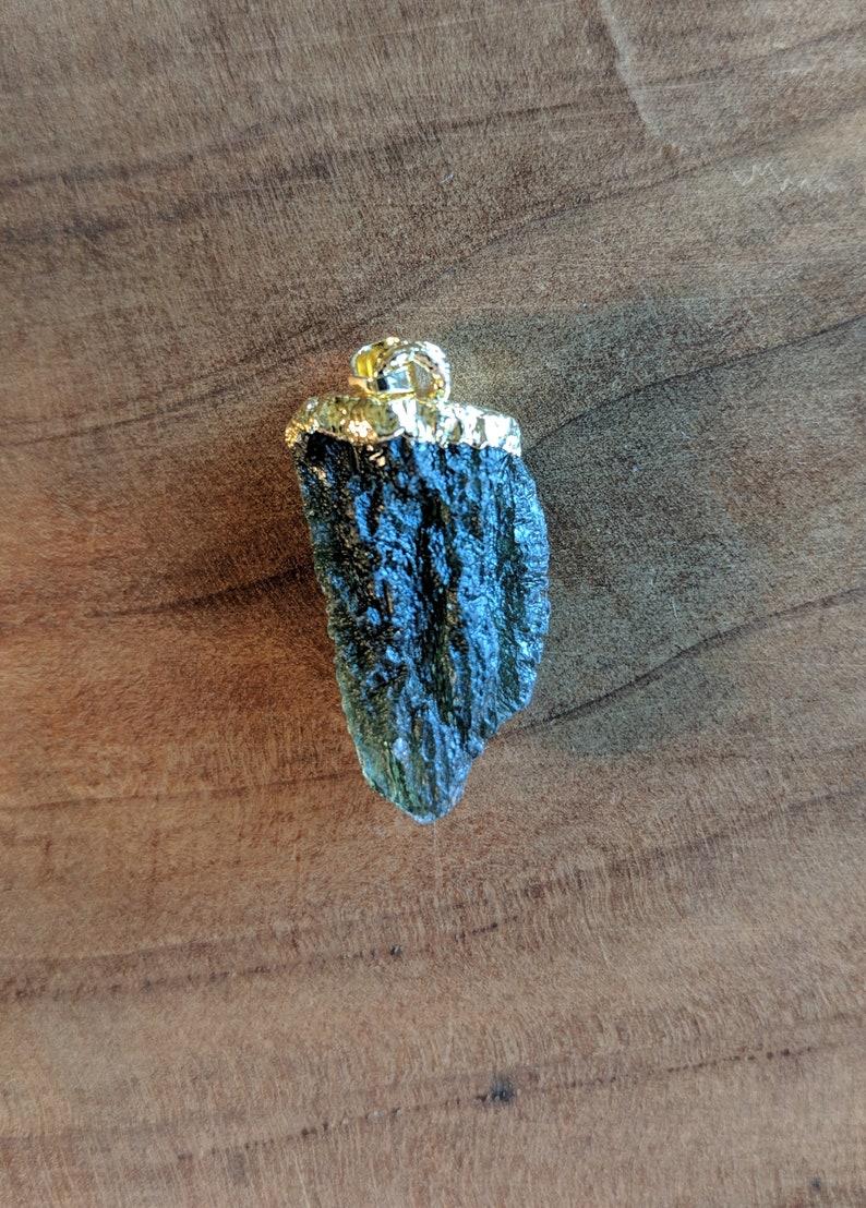 3.99g Meteorite Glass Crystal Tektite Museum Grade Transformational Stone Gold Plated Moldavite Pendant Celestial Crystal