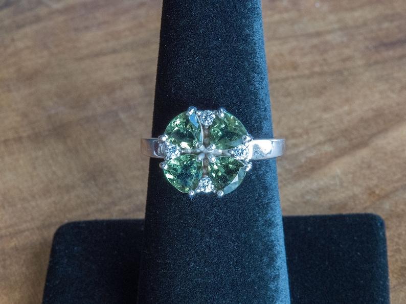 Cloverleaf Moldavite Sterling Silver Ring with 4 x 5mm Trillion Moldavite Facets Meteorite Glass Faceted Gemstone Ring Museum Grade