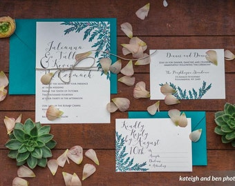 Watercolor Leaf Invitation Set (#4): **SAMPLE**