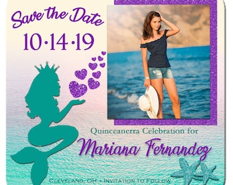 quinceanera magnet mermaid save the date magnets mermaid invitation 15th birthday miss quince anos purple teal mermaid save the date