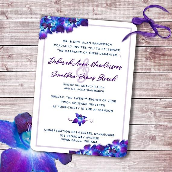 Custom Belly Bands Wedding Invitation Suites Blue Purple Orchid Dendrobium Wedding Invitation Suites Purple Orchid Wedding Invitations