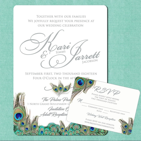 Peacock Wedding Invitations Floral Wedding Invitation Suites | Etsy