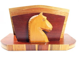 Vintage Wood Letter Mail Holder Desk Organizer with Horse Head Accent Mid Century Wood Letter Holder Horse Office Decor Desk Organizer