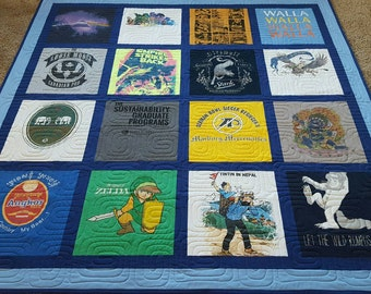 Jersey t-shirt quilts made from 9 to 49 tees. Memory T shirt quilts. Custom tshirts quilt. Deposit only!!! The prices are below quilt photo.