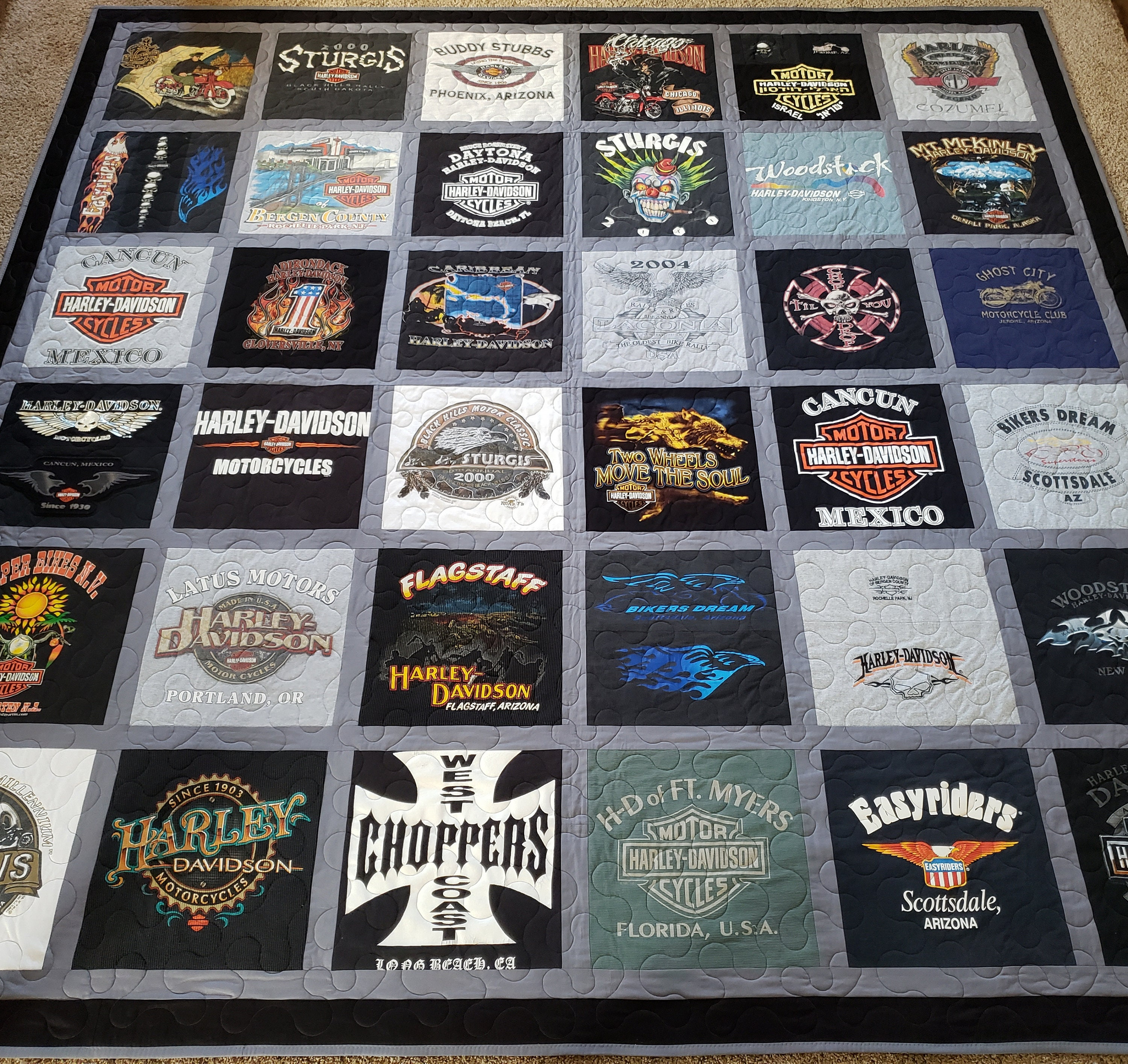 Harley Davidson Tshirt Quilts Memory Custom Quilts Made From Etsy