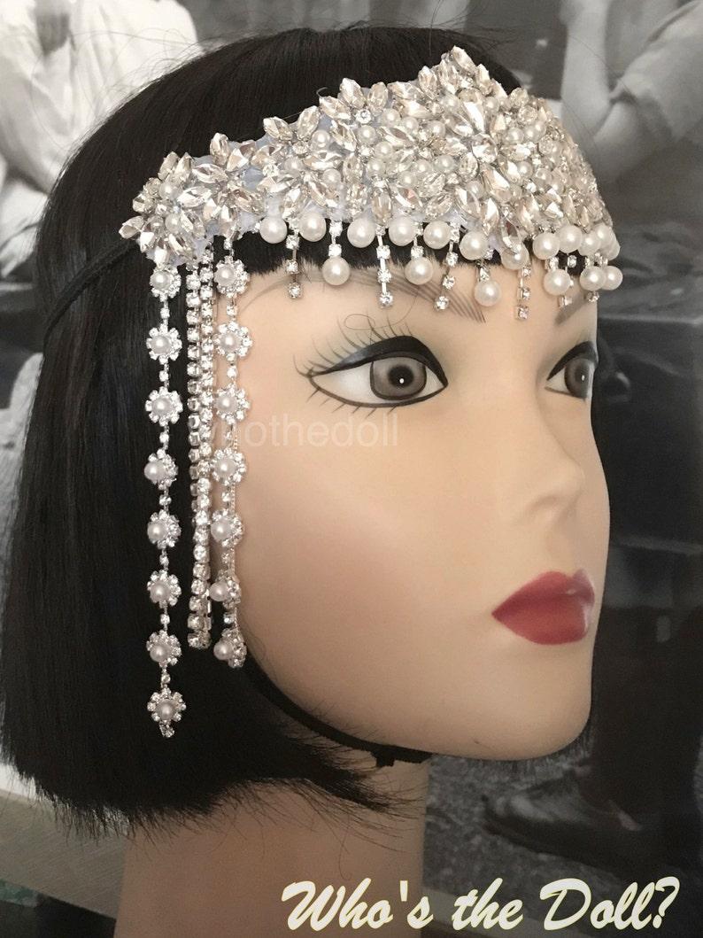 Flapper headband Silver 1920/'s Old Hollywood headpiece Bridal headpiece Gatsby Gatsby Chain headpiece Art Deco headpiece