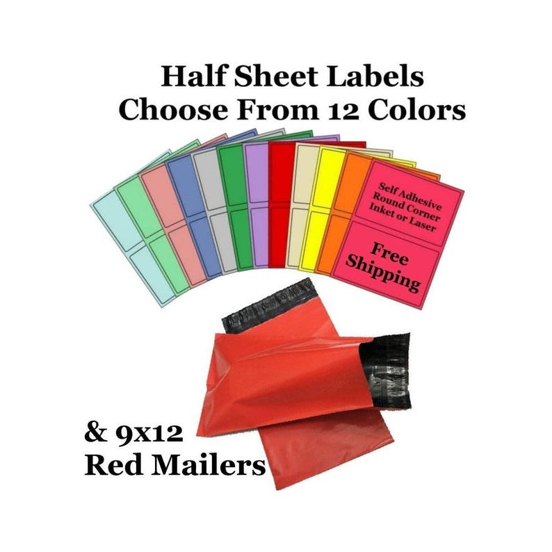 9x12 ( Red ) Poly Mailers + Colored Half Sheet Self Adhesive Shipping  Labels Free Same Day Shipping
