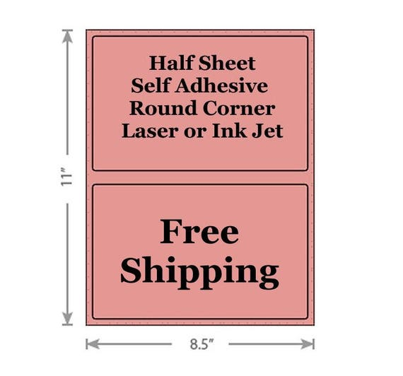 1000 HALF SHEET LABELS FOR PAYPAL SHIPPING ROUND CORNER