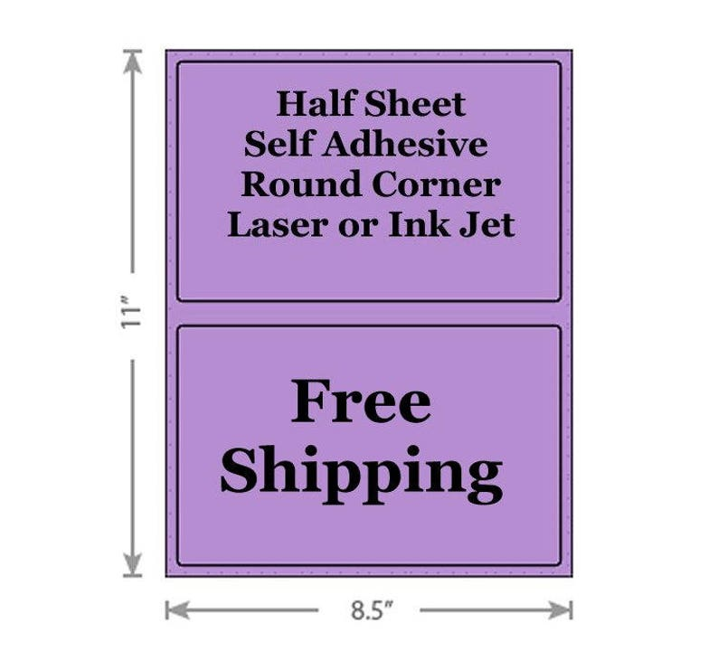 Standard Purple Shipping Labels 8 5x5 5 Half Sheet Self Adhesive Etsy  PayPal Stamps USPS InkJet Laser Free Same Day Shipping