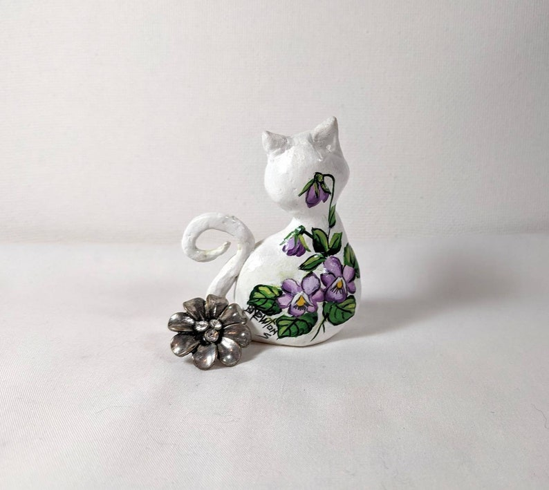 Painted with Violets and Butterfly Clay Kitty Cat Handpainted Violets Painted Front and Back Purple Violets Painted Cat Minature
