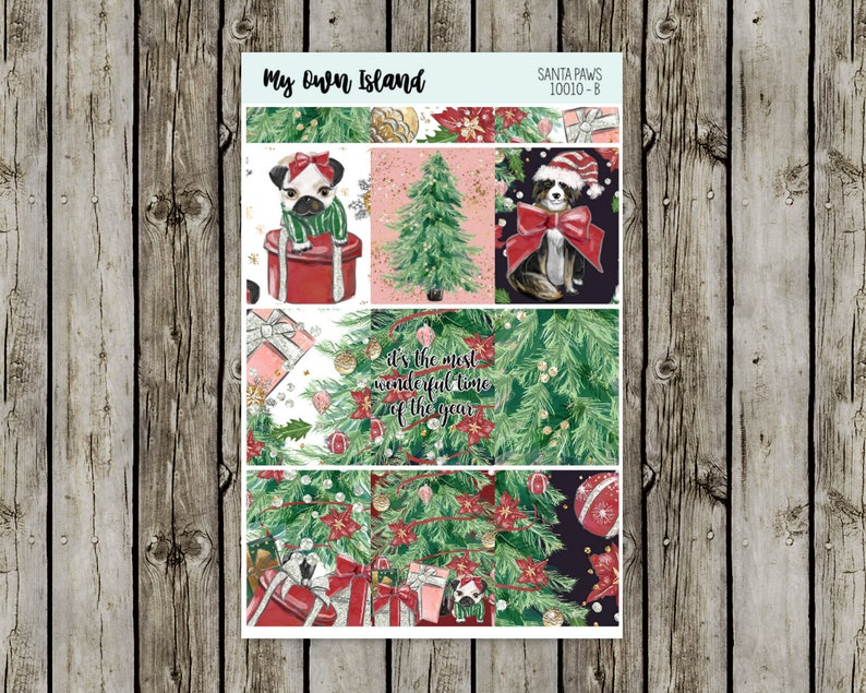 Santa Paws Deluxe Kit  Matte Repositionable Stickers  Any Planner 10010