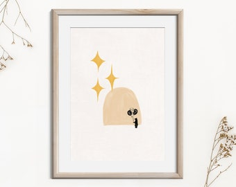 Printable Abstract Cute Wall Art Bear with Balloons, Magical Abstract Poster with Stars, Instant Download Art, Woodland Nursery Decor