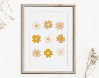 Boho Abstract Flower Decor Art Print, Minimalist Modern Print Art, Printable Neutral Wall Art, Digital Print Mid Century Instant Download