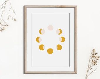 Moon Cycle Digital Wall Art, Modern Minimalist Poster, Printable Wall Decor, Moon Lunar Mid Century Home Decor, Contemporary Art Poster