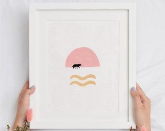 Abstract Sunset Wolf Printable Home Decor, Fun Bohemian Housewarming Gift DIY Print, Modern Boho Drawing of Wolf Line Wall Art
