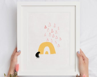 Adorable Bear on Bicycle Rainbow Printable Home Decor, Abstract Toddler Wall Art Poster for Nursery, Housewarming Gift Print for Her