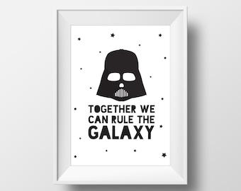 Darth Vader, Teen gift, Rule the Galaxy, Star Wars Quote, Star Wars Wall Art, Darth Vader, Darth Vader Quote, Darth Vader Poster, Star Wars