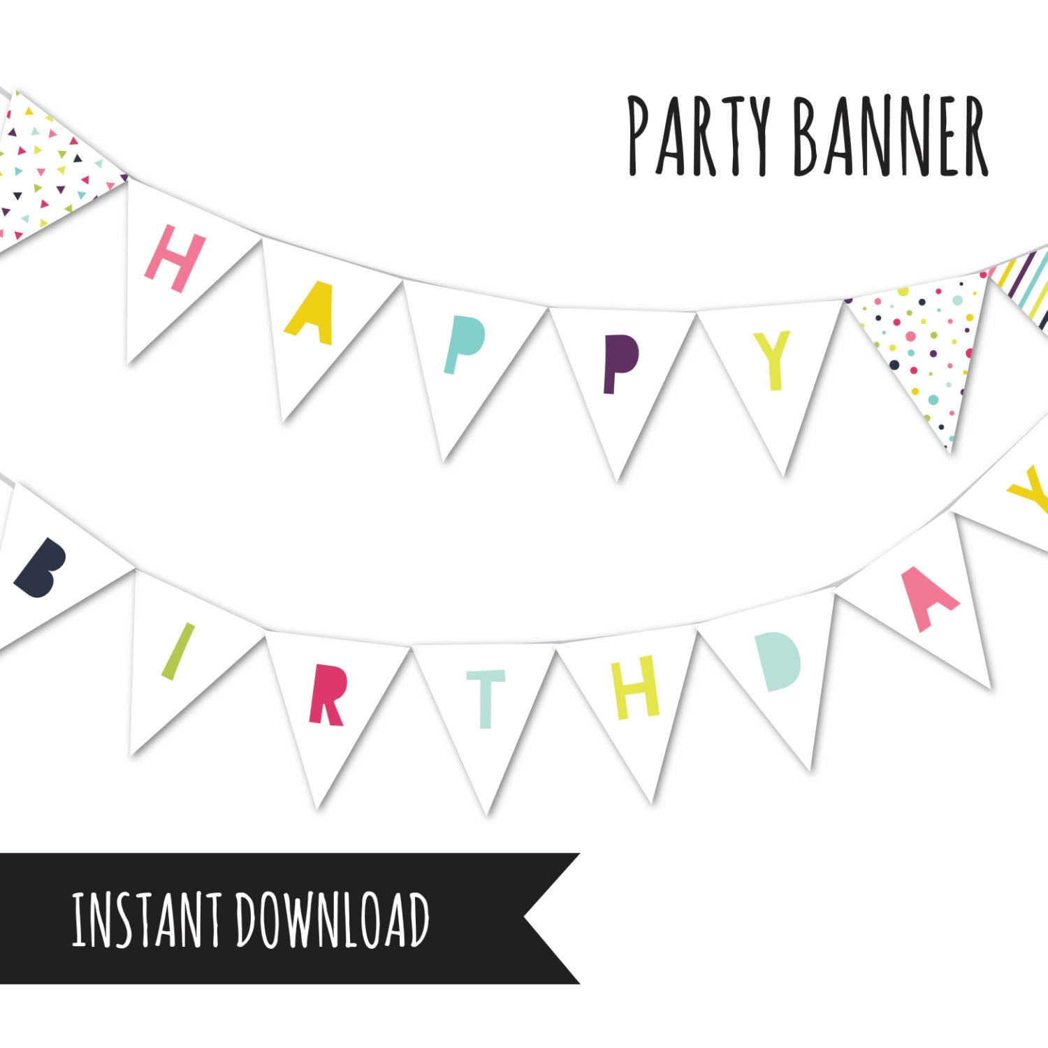 Birthday Banner Bunting Banner Happy Birthday Party