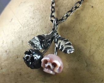Hand Carved Pearl Skull Cherry Necklace - Cherry Pendant - Pearl Skull Necklace - Valentine's Day Jewelry - Gift For Her - Gift for Wife