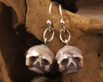 Carved Pearl Skull Gray Earrings - Sterling Silver Dangle Earrings - Skull Earrings - Gift for Wife - Gift for Best Friend - Halloween Gift