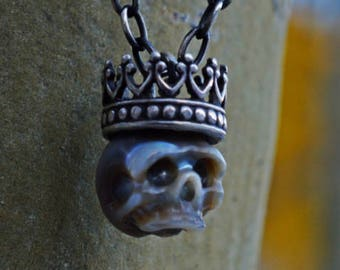 Carved Pearl Skull Necklace with Sterling Silver Crown - Grey Pearl Skull Pendant -Christmas Necklace - Pearl Necklace - Unique Gift