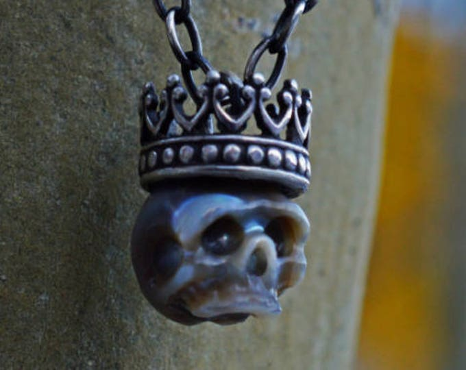 07910a64a5f056 Featured listing image: Carved Pearl Skull Necklace with Sterling Silver  Crown - Grey Pearl Skull