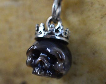 Hand Carved Black Pearl Skull Wearing Small Sterling Silver Crown Necklace - Skull Jewelry - Pearl Necklace - Unique Gift